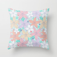 Dancing Spring flowers Throw Pillow by Julia Grifol Designs