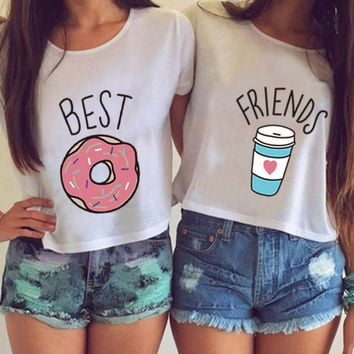 2016 Hot Summer H599 Women T-shirt Funny Best Friends T Shirt Donut And Coffee Duo Flowy Print Tees Couple Tops Plus Size Crop