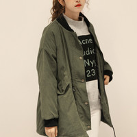 Army Green Long Sleeve Coat with Zipper