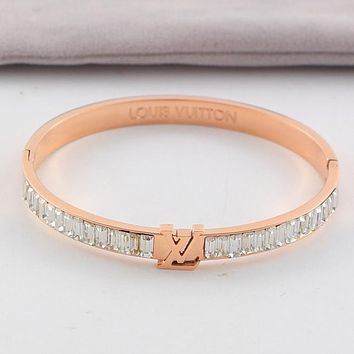LV Louis Vuitton Trending Women Stylish Crystal Stainless Steel Bracelet Jewelry Rose Golden I-HLYS-SP