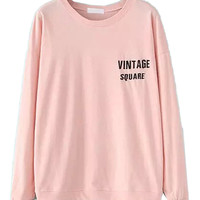 Pink Embroidered Sweatshirt