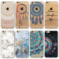 2016 New Phone Case Cover For iPhone 6 6S Soft Silicon Black Marble Hollow transparent Space HENNA DREAM CATCHER Ethnic Triba