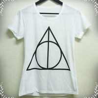 White shirt Women Tank top / Short sleeve tshirt size S Deathly Hallows graphic triangle Harry Potter tank top crew neck women t shirts