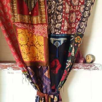 Gypsy Boho Curtains Hippie Drapes panels Hippy Boho Gypsy Fringe paisley vtg scarf scarves Wall Decor bohemian Bedroom Patchwork Silk