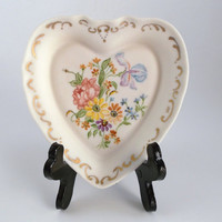 Vintage Porcelain Heart Shaped Ring Dish Collectible Hand Painted Plate Valentine's Day Dish