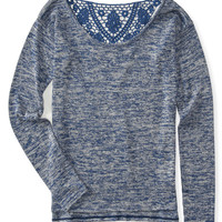 Aeropostale  Long Sleeve Floral Lace Back Top