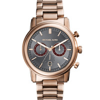 Mid-Size Rose Golden Stainless Steel Pennant Chronograph Watch - Michael Kors
