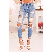 So Much To Say Distressed Jeans (Light Denim)