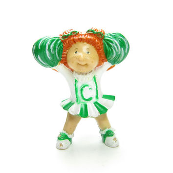 Cabbage Patch Kids Cheerleader Miniature Figurine Vintage PVC Redhead Girl with Green & White Outfit
