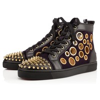 Christian Louboutin CL Sneaker High Black Leather Side Zip Lace-up Ankle Boots Shoes High Boots