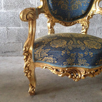Antique Italian Rococo French Louis XVI Baroque Chair Fauteuil Settee Couch Sofa Refinished Gold Leaf Frame & New Blue Damask Fabric