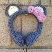 Sweet Gray Bear with Pink Bow Crocheted Headphones