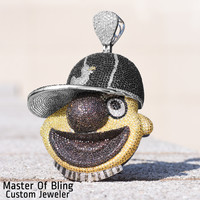 Iced Out Rapper Elmo Puppet Multi Tone CZ Gold Finish Pendant Steel Chain