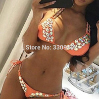 2017 Summer New rhinestone swimwear two piece bandage swimsuit diamond push up Triangle Chain strappy bikini set beach suit