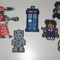 Magnet Set - Doctor Who Inspired Perler Art with Rose, 10, and Captain Jack