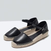 Stylish Design Summer Black Linen Wedge Leather Roman Thick Crust Shoes Sandals [4918350724]