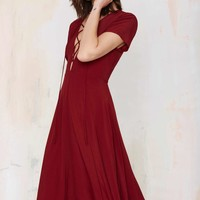 Wait & See Lace-Up Dress - Burgundy