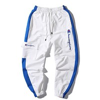 Champion New Fashion Embroidery Letter Women Men Sports Leisure Pants White