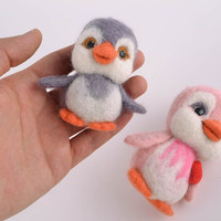 Felted wool toy Penguins fabric natural eco friendly home decor original present