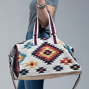 Cream brown  Boho Chic Navajo Pattern Weekender Duffle Bag