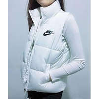 NIKE Winter Hot Popular Women Print Sleeveless Vest Waistcoat Zipper Cardigan Jacket Coat White