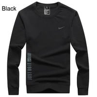NIKE autumn and winter models round neck cotton loose men's sports round neck sweater Black