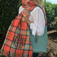 Monogrammed Double Sided Coral Turquoise Tartan Plaid Houndstooth Blanket Scarf Wrap  Font Shown MASTER CIRCLE in Brown