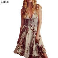 2016 Women Vintage Ethnic Flower Embroidery Deep V-neck Sleeveless  Hippie Boho People Tunic Short Loose Dresses