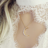 Crescent & Stone Necklace