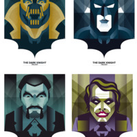 """The Dark Knight Trilogy"" 4 Print Set by Oscar Odd Diodoro"