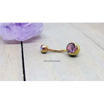 Rose gold titanium belly ring double gemstone lavender navel piercing 14g navel rings curved barbell internally threaded anodized quality