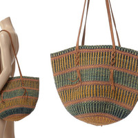 Vintage 70s 80s Leather Woven Sisal Market Bag 1970s 1980s Large Jute Tribal African Ethnic Hippie Handbag Boho Bucket Gypsy Tote