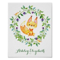 Watercolor Woodland Fox Nursery Poster