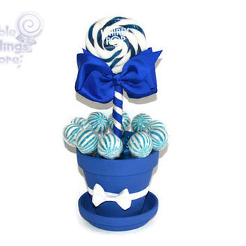 Medium Royal Blue Lollipop Centerpiece, Blue, Lollipop, Wedding, Bridal Shower, Candy, Centerpiece, Candy Buffet, Sweet Sixteen, Quinceanera