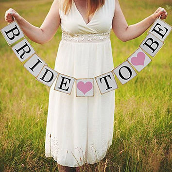 Bride To Be Banner with Pink Hearts