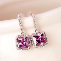 Purple Princess Glamour Rhinestone Earrings