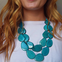 Tagua Nut Flat Necklace Teal