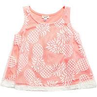 River Island Mini girls pink pineapple print lace top