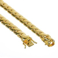 """Jewelry Kay style Men's 14K Gold Plated Cuban Link Chain Necklace Box Clasp Safety Lock 10 mm 26"""""""