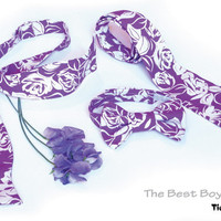 Freestyle Bow Tie for Boys purple roses newborn tie, baby tie, gingham tie, photography prop, holiday tie