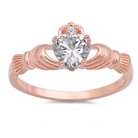 Sterling Silver Rose Gold-Tone Plated CZ Simulated Diamond Claddagh Heart Ring 9MM