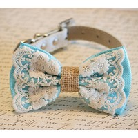 Blue Dog Bow Tie collar, Lace and Burlap, Rustic, boho, Dog Lovers,Pet wedding accessory, Unique, Chic, Classy, Something Blue