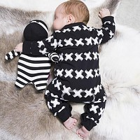 2016 New autumn spring cotton baby boy clothes long sleeve X printed baby rompers newborn clothes infant clothing