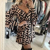 FENDI Trending Women Sexy V Collar F Letter Long Sleeve Dress