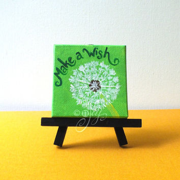 """Make A Wish, Mini Dandilion Canvas Painting, 3""""x3"""" Magnet or Easel options"""