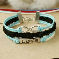 by (FairyBloom) Infinity Bracelet -sky blue and black mixed colors combination bracelet gift. PURE LOVE SYMBOL