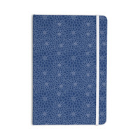"Julia Grifol ""White Flowers on Blue"" Navy Blue Everything Notebook"