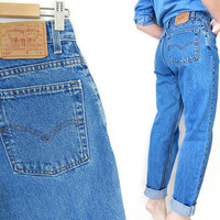 """Vintage 80s 90s Levi's 550 High Waist Women's Jeans - Size 10 Long - Faded Blue Denim Relaxed Fit Tapered Leg Mom Jeans - 30"""" Waist"""