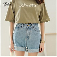 Fashion Casual Women 2018 Denim Shorts Vintage High Waist Sertissage Short en Punk Jean Shorts Jeans for Spring Summer