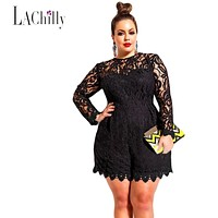 2017 New sexy Lace jumpsuit women Plus Size Long Sleeve Lace Romper LC60599 sexy jumpsuit macacao feminino coveralls